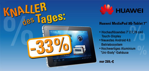 Happy Hour Angebot #1 – Huawei MediaPad 3G Tablet 7″